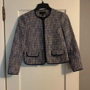 J. Crew tweed blazer in blue, cream, and blown